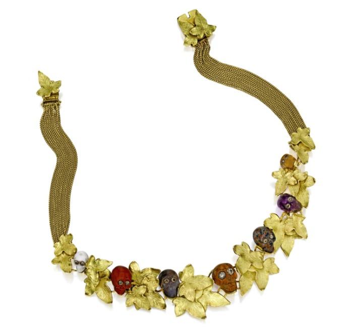 A gold, hardstone and diamond 'De la Mort et de La Vie' necklace by Codognato.