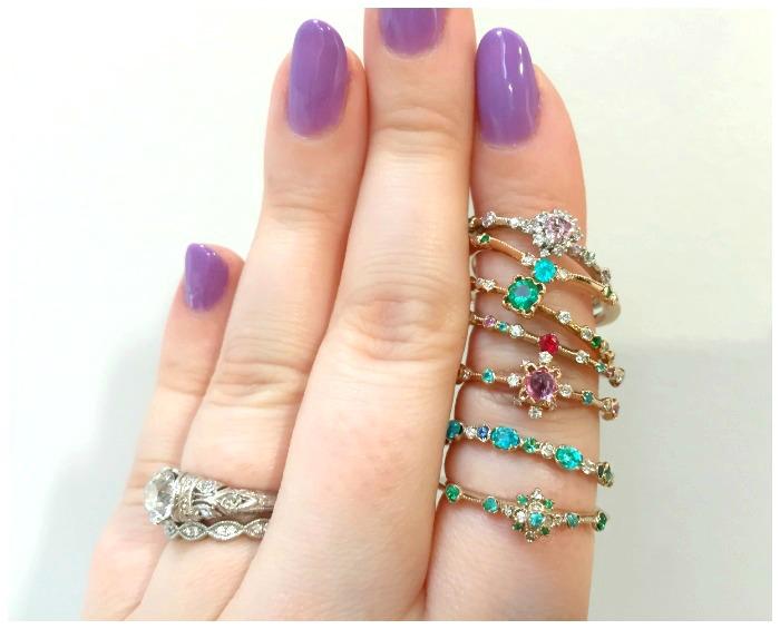 A stack of beautiful gemstone and diamond rings by Japanese designer Kataoka.