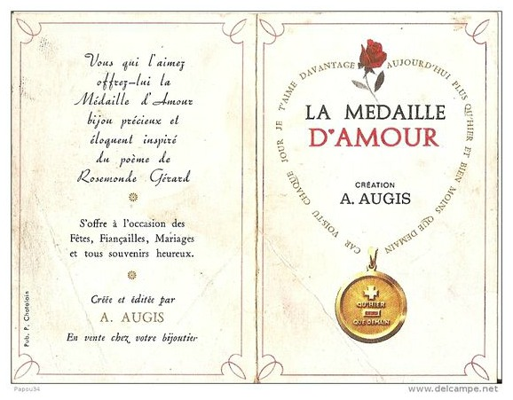 Packaging from an Augis Medaille D'Amour, a vintage charm inspired by a French love poem.