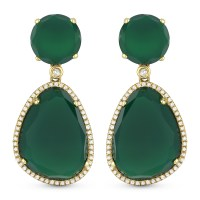 Earrings Green Emerald Green Colour Costume Jewelry Small
