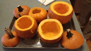 Hollowed out sugar pumpkins