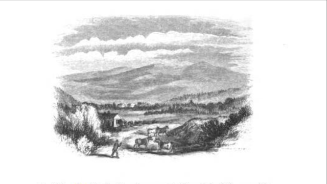 A 19th-century view of Mount Moriah from Gorham, NH (Andrews engraving from Wheelock drawing, citation below).