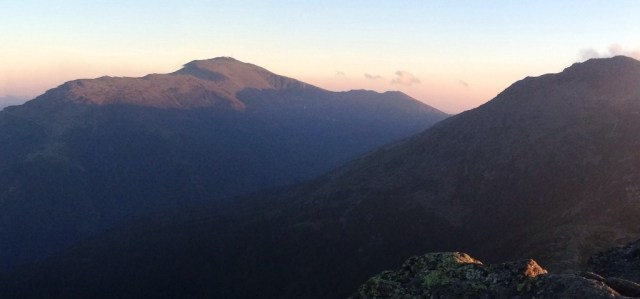 The sky glowed above Mount Washington as we climbed back down to the hut.