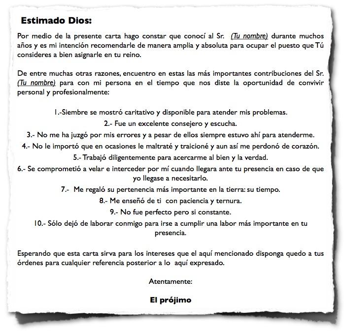 Carta de recomendación Diario de un católico notas y apuntes de