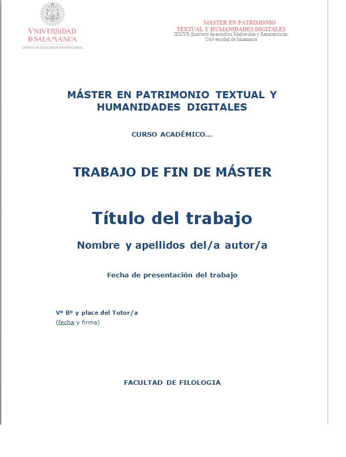 Reglamento MASTER EN PATRIMONIO TEXTUAL Y HUMANIDADES DIGITALES