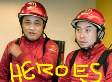 Two Chinese McDonald's delivery men in a Death to Giants music video.