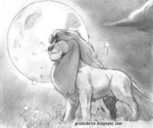 Dibujos a lápiz de leones (6)