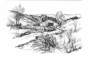 Dibujos a lápiz de paisajes (12)