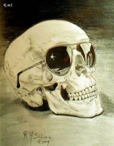 Dibujos a lápiz de calaveras y huesos (11)