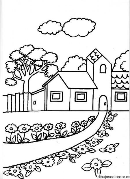 dibujos para pintar sol dibujo de sol para colorear ultra autodibujo de una casa con un camino con flores