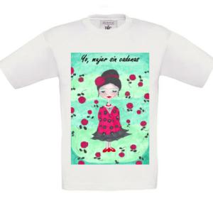 Camisetas mujer Yo, mujer sin cadenas con fondo niñ@