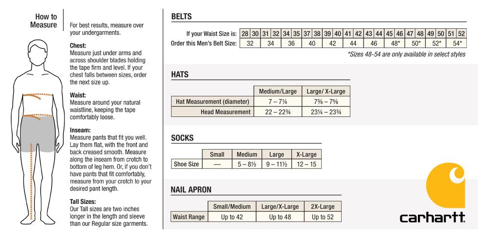 Carhartt Size Charts