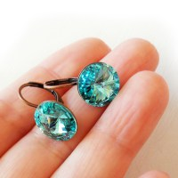 Turquoise Blue Swarovski Rivoli Rhinestone Earrings  Shop