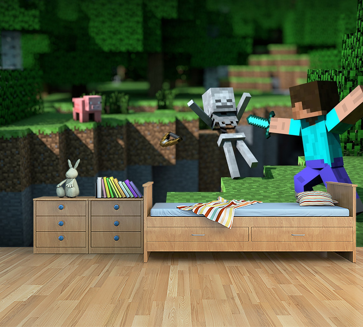 Behangen Over Vinylbehang Kinderkamer Behang Minecraft Action
