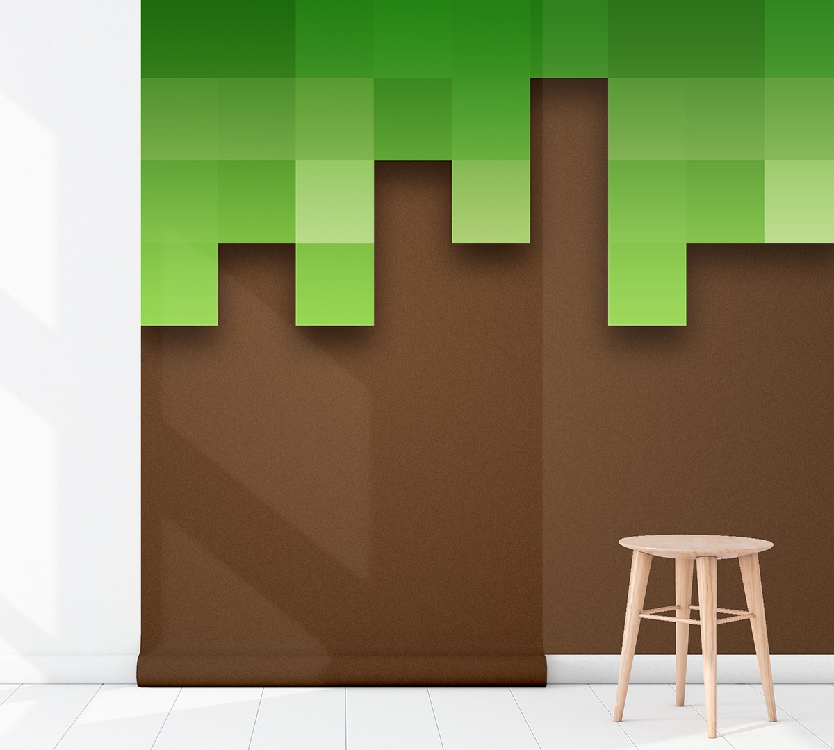 Behangen Over Vinylbehang Kinderkamer Behang Minecraft Aarde