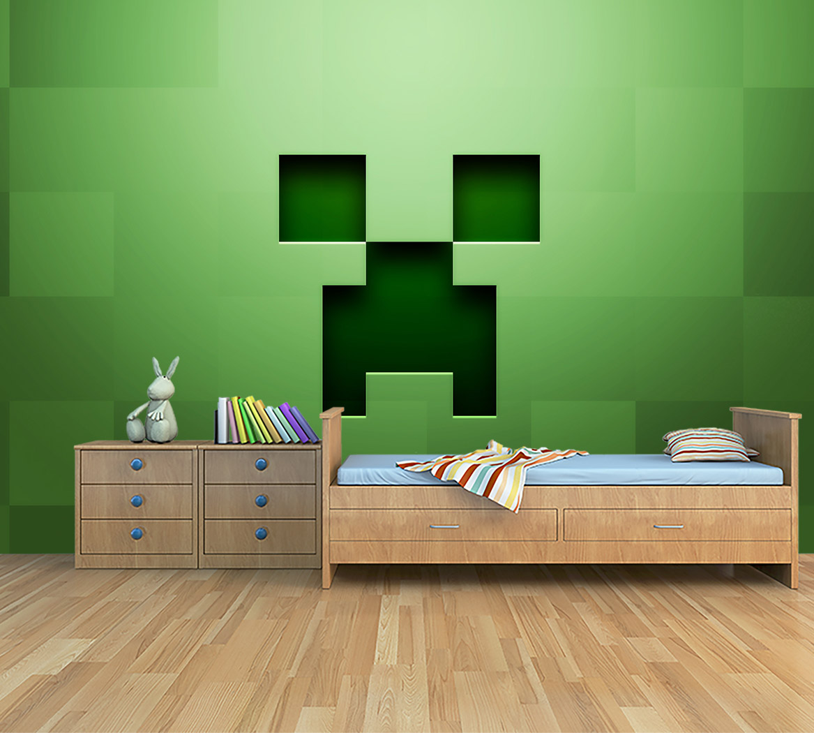 Behangen Over Vinylbehang Kinderkamer Behang Minecraft Creeper