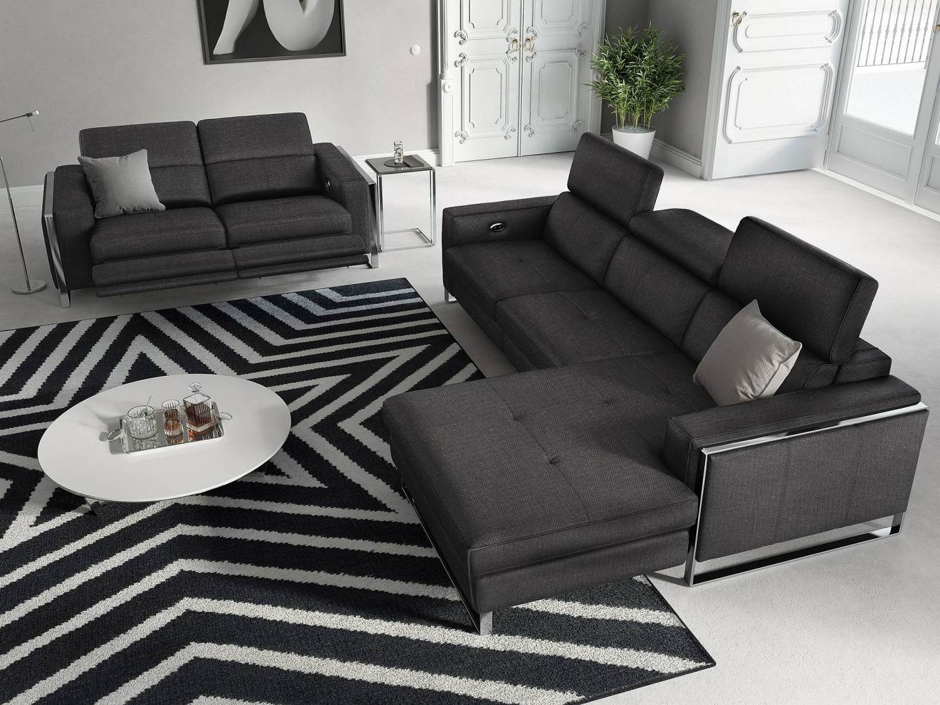 Couchgarnitur Mit Relaxfunktion Stoff Sofa Garnitur Relax Funktion Couchgarnitur