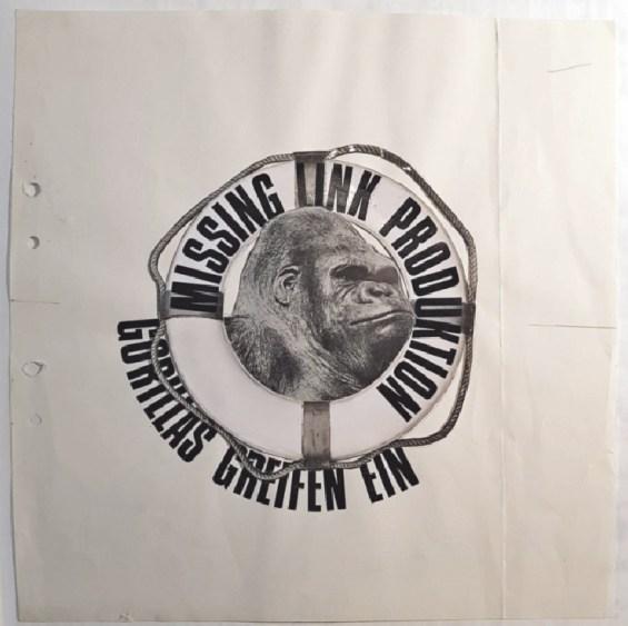Missing Link, Gorillas greifen ein, 1971 Collage, Typografie, Fotoausschnitte auf Papier, 27,2 x 27,3 cm. MAK – Österreichisches Museum für angewandte Kunst / Gegenwartskunst © Missing Link