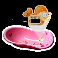 1 Stk Babybadewanne mit Thermometer rosa Kinderwanne 29 x