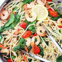 Lemon Shrimp and Spinach Spaghetti