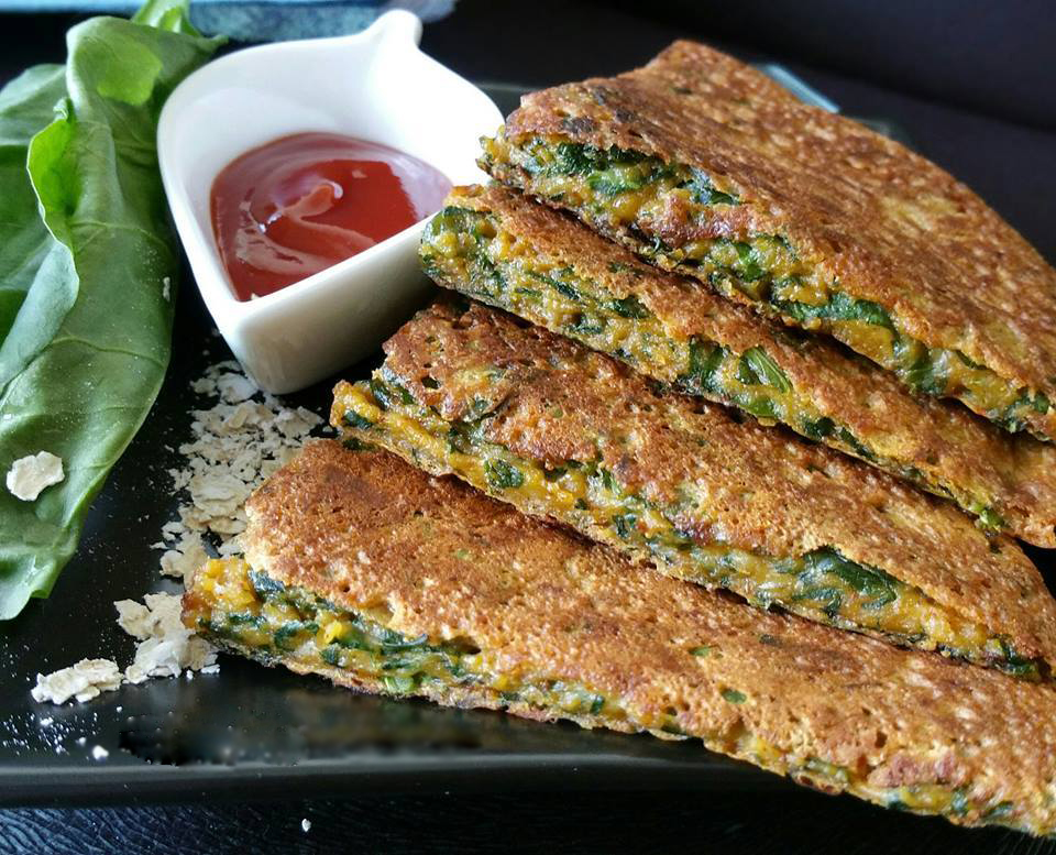How to make Instant Oatmeal Spinach Chilla/ Pancake