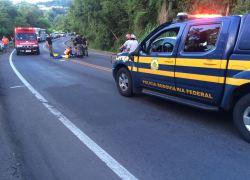 Motociclista fica ferido em acidente na BR-470 em Bento