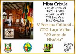 Missa Crioula será celebrada nesta quarta no CTG Laço Velho