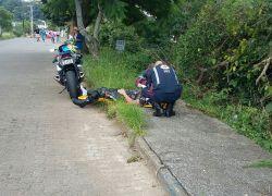 Motociclista fica levemente ferido em acidente no São João em Bento