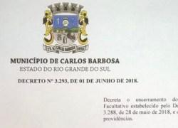 Prefeito de Carlos Barbosa decreta fim do ponto facultativo no município