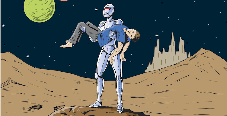 Robot girl carrying away a man, a feminist homage.