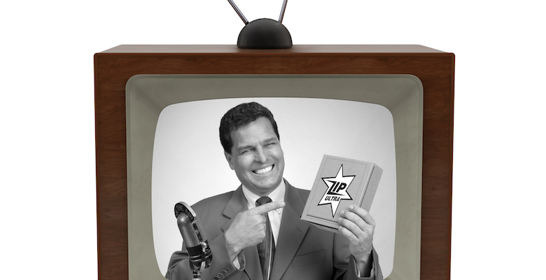 1950's television with a newscaster reading a news bulletin