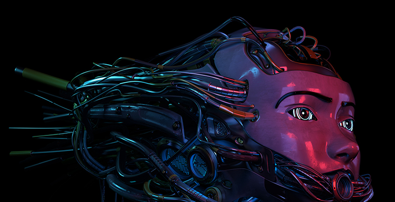 Sci-Fi 3D robot with dreadlocks hairstyle from wires