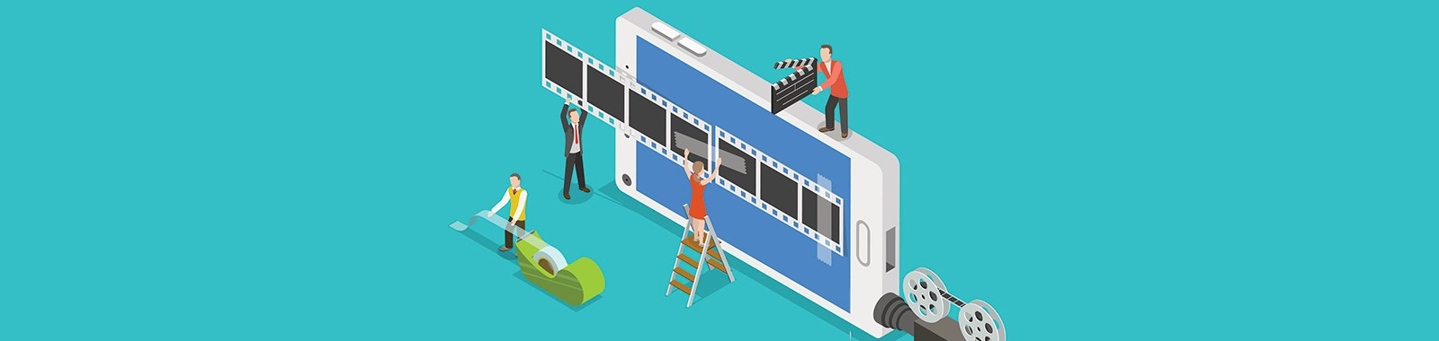 Mobile video editor flat isometric vector concept. People create a movie on smartphone using film strip and sticky tape.