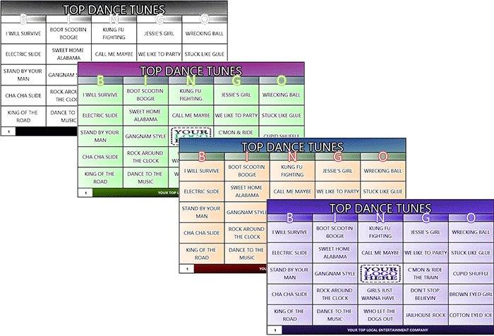 Music Bingo Game Jukebox Bingo - Rock and Roll Bingo