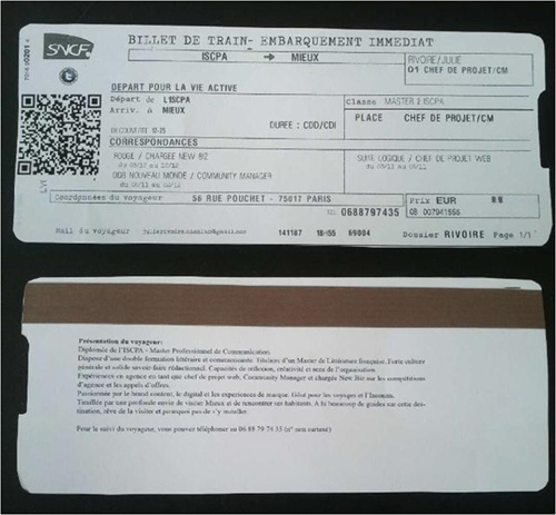 faire cv sur billet de train