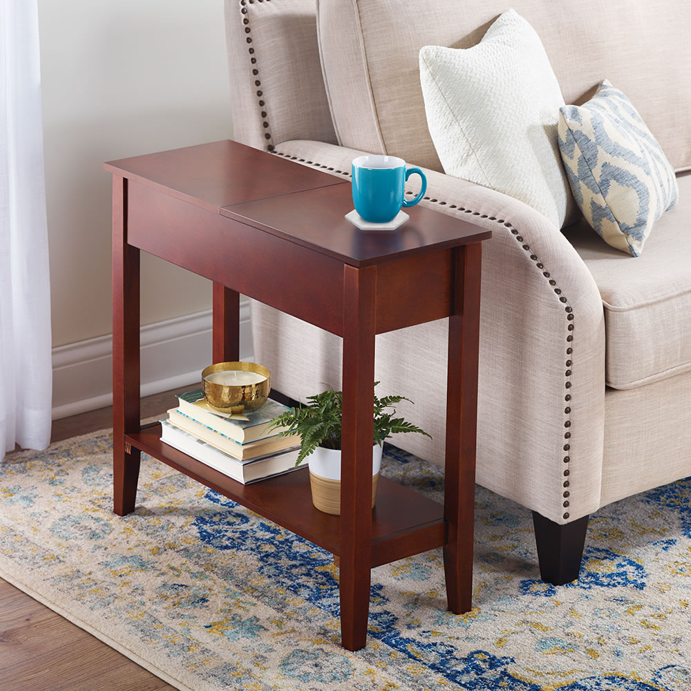 Coffee And End Tables With Storage The Hidden Storage Side Table Hammacher Schlemmer