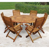 The Lazy Susan Outdoor Table Set - Hammacher Schlemmer