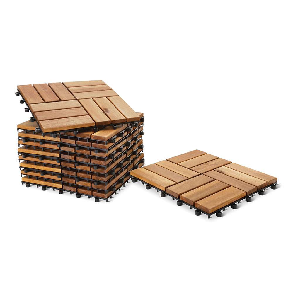 Interlocking Deck Tiles The Interlocking Acacia Deck Tiles Hammacher Schlemmer