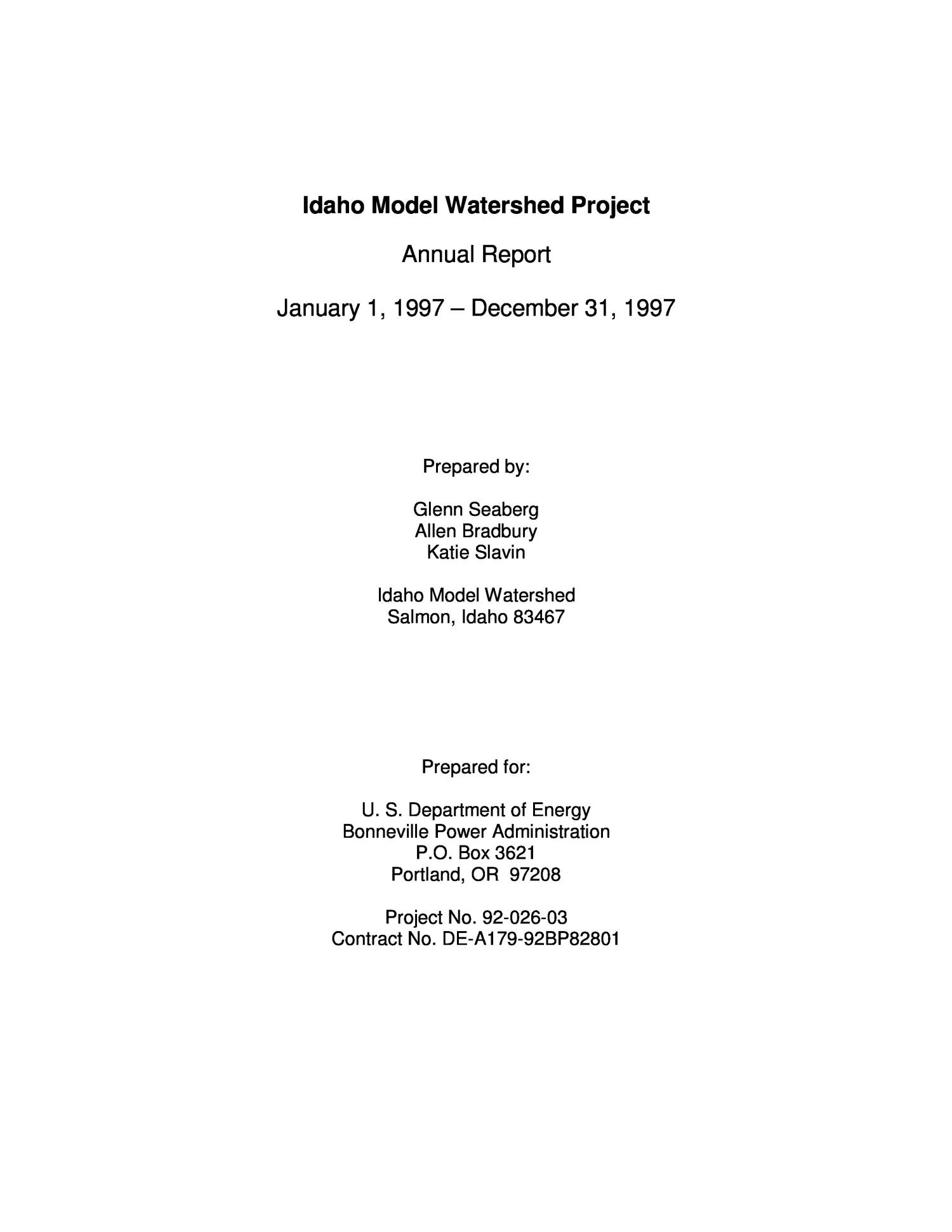 Granosol Idaho Model Watershed Project Annual Report To The Bonneville