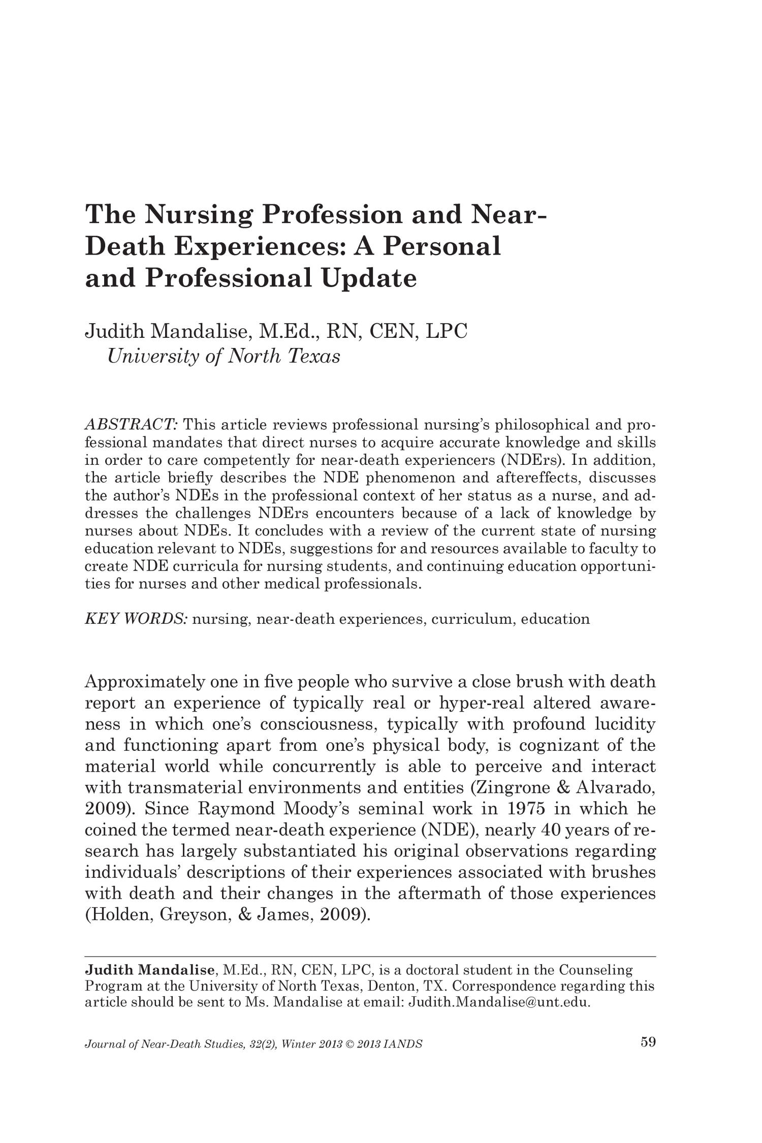 The Nursing Profession And Near Death Experiences A Personal And Professional Update Unt Digital Library