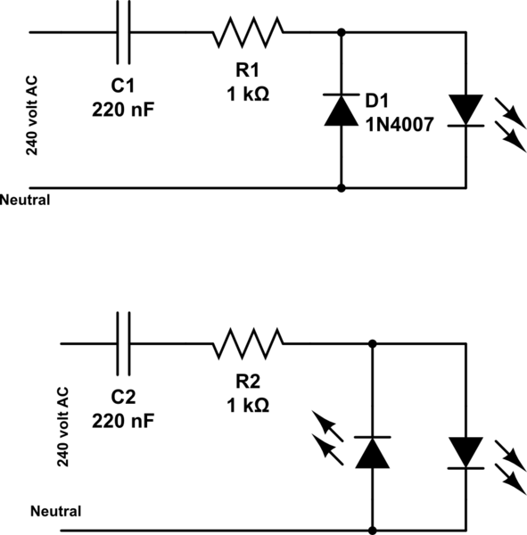 mains operated led circuit schematic