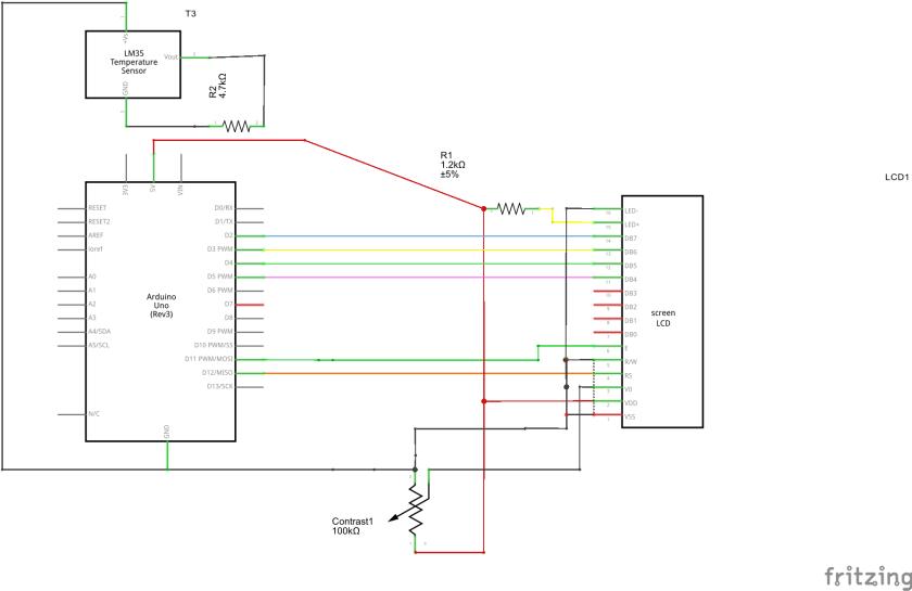 LCD display Arduino UNO Schematic
