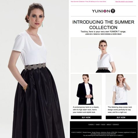 Email Newsletter design for fashion brand YUNIONT