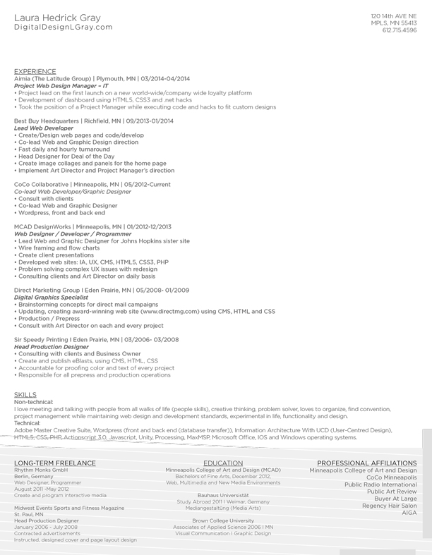 Resumé Laura Gray - digital image processing resume