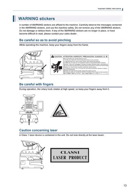 Tajima Owners and Parts Manuals - SAI OPERATION MANUAL - operation manual