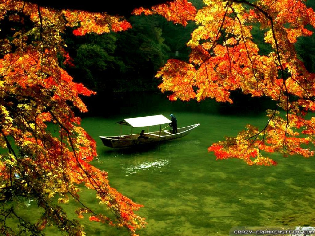 Beautiful Fall Scenery Wallpapers 13 Wallpaper Boat On River Autumn In Japan Wallpapers 387