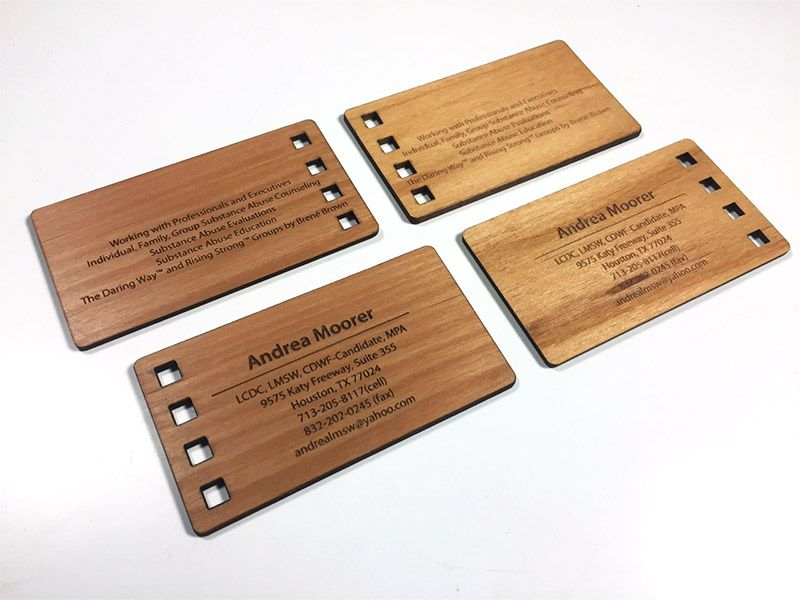 Laser engraved business cards on wood, metal, plastic - starting at