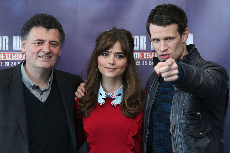Steven Moffat, Jenna Coleman and Matt Smith at the Doctor Who 50th Celebration in 2013
