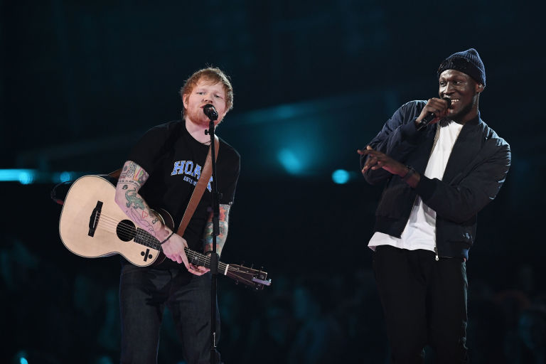Ed Sheeran, Stormzy perform on stage during the Brit Awards 2017