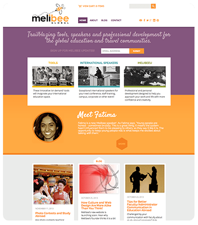 Melibee Global Home Page Screenshot